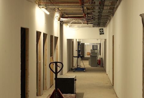 The plasterboard in the second and third floor is in place.
