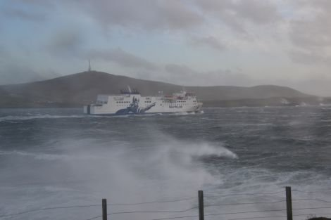 Hjaltland leaving Lerwick into a stormy sea - Photo: Neil Riddell/ Shetland News