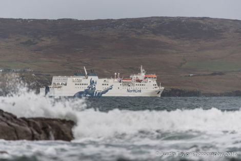 The Hrossey leaving Lerwick at lunchtime on Wednesday. Photo: Austin Taylor.