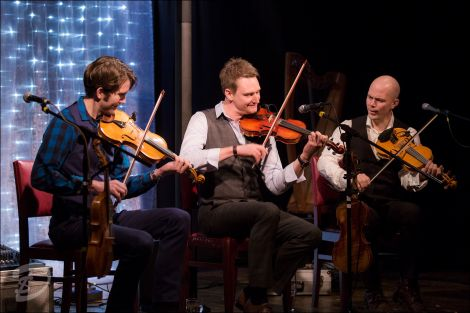 Nordic Fiddlers Bloc, including Kevin Henderson (centre), again proved a class act at the Carnegie Hall in Sandwick on Sunday afternoon. Photo: Dale Smith