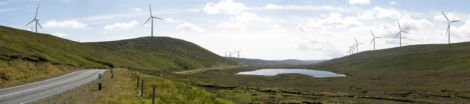 A mocked-up image of Viking turbines as they would be seen from the north end of the Lang Kames.