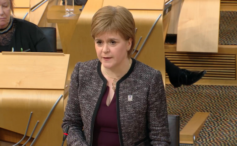 First Minister Nicola Sturgeon in parliament on Thursday.