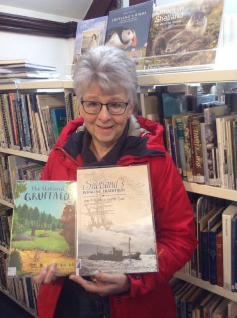 Local author Laureen Johnson with her most-borrowed Shetland books.