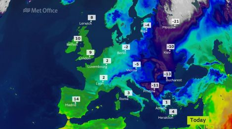 Monday's Met Office weather map for Europe.