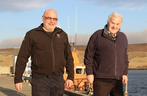 Current Aith lifeboat coxswain Hylton Henry (left) with former crew member Frank Johnston who was involved in the rescue of the 12 men from the Juniper - Photo: Hans J Marter/Shetland News