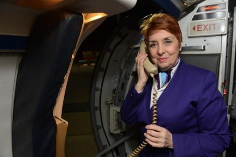 Stewardess Charmaine McCall-Hagan, who retired on Friday after 44 years. Photo courtesy of Loganair.