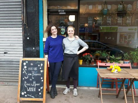 Gabby Cluness, who grew up on Shetland's West Side, outside Milk Cafe which she runs with business partner Angela Ireland (right).