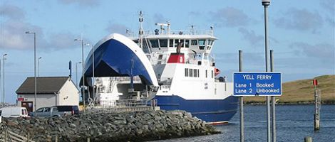 The ferry terminal at Toft, which serves the North Isles.