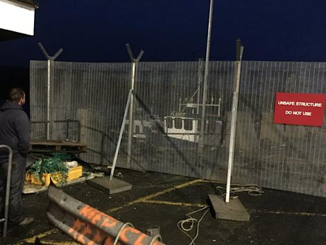 A pontoon is currently erected alongside Toft pier on a temporary basis after it was fenced off in December over safety fears. Photo: Robert Williamson