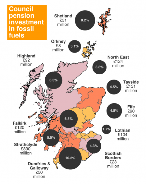The Scottish pensions fund fossil fuel map - Image FoE
