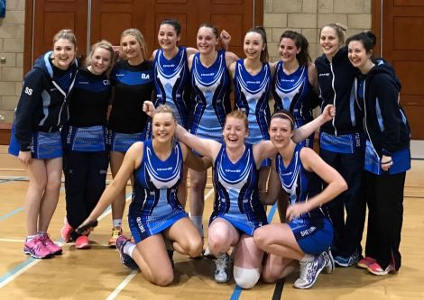Shetland's victorious netball players following Saturday's 52-25 victory.  Back row (from left): Shelley Sandison, Claire Morris, Bethany Anderson, Kim Johnson, Karen Bannister, Ava Sim. Front row: Kirsti Leask, Sanna Aitken, Maisie Unsworth. Photo: Mark Harcus.