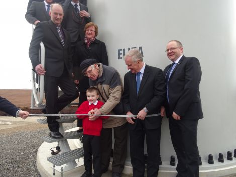 The ribbon was cut by five-year-old Mark Henry and Andy Gear, 83, one of the youngest and one of the oldest residents of North Yell.