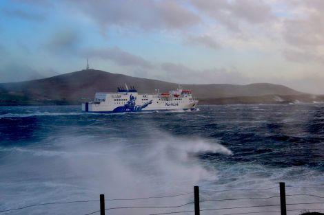 Sister vessel MV Hjaltland leaving Lerwick last year. Photo: Shetland News