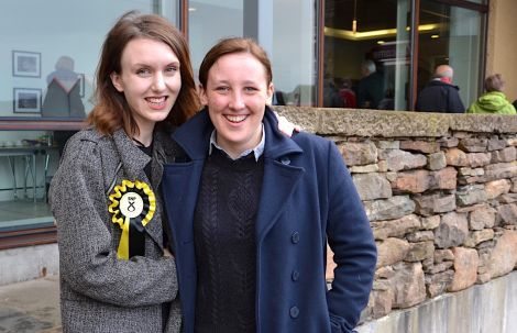 The SNP's Northern Isles candidate Miriam Brett and Mhairi Black, a high-profile party figure who became the UK's youngest MP since 1832 two years ago, pictured outside the Shetland Museum and Archives before Tuesday night's Q&A sessions. Photo: Shetland News/Neil Riddell