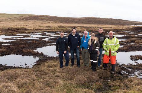 From left to right: Alan Blance (Treatment Team Leader – Shetland), Kenneth Johnston (Senior Treatment Operator - Shetland), David Anderson (Catchment Liaison Officer - SLM Team), Sue White (Shetland Amenity Trust), Sean MacKenzie (S. MacKenzie Plant Ltd), Paul Goddard (Shetland Amenity Trust).