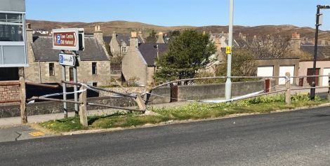 Roadside railings along Lerwick's Hillhead were damaged in the incident. Photo: Shetland News.