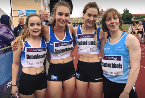 Members of the 4 x 100m relay women's team after winning bronze. Photo: BBC Radio Shetland