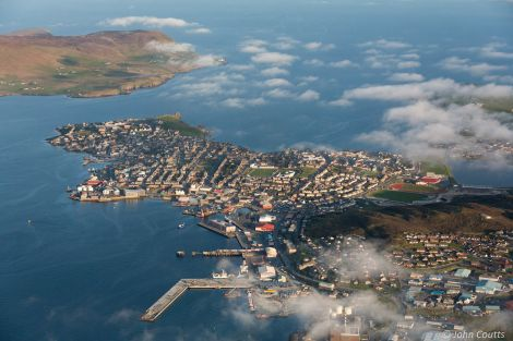A spectacular aerial view of the (almost) completed pier, the whole of Lerwick as well as Bressay. Photo: John Coutts