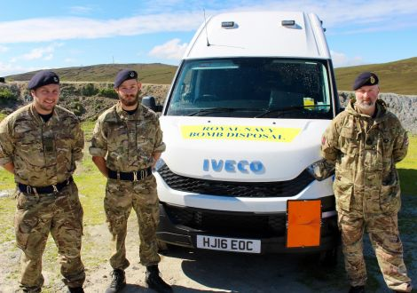 Bomb disposal team officers (left to right) 'Sticky' Cunningham, Jon Robinson and Garth Spence. Photos: Chris Cope/Shetland News