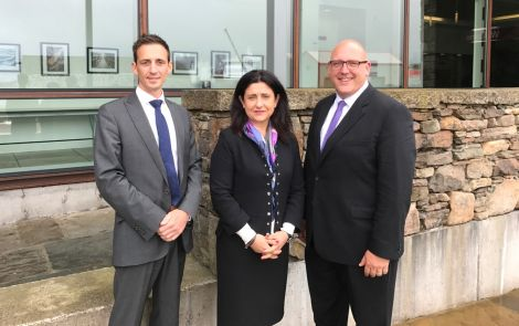 Eastern Airways' Mathew Herzberg with Flybe's chief executive Christine Ourmieres-Widener and chief revenue officer Vincent Hodder. Photo: Shetland News/Neil Riddell.