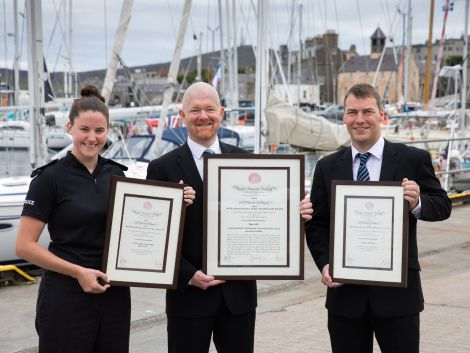 Pictured with their awards, from left to right, are police sergeant Victoria Duthie, LPA port controller Ryan Leith and local musician Maurice Henderson.