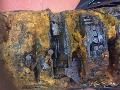 The ammunition was discovered by divers near Sellaness last weekend. Photo courtesy of Lerwick Police Station.