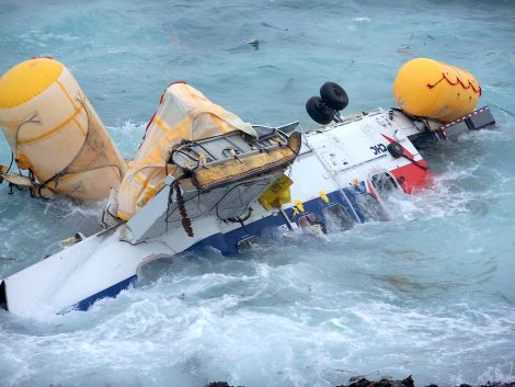 The Super Puma helicopter which ditched into the sea just over four years ago.