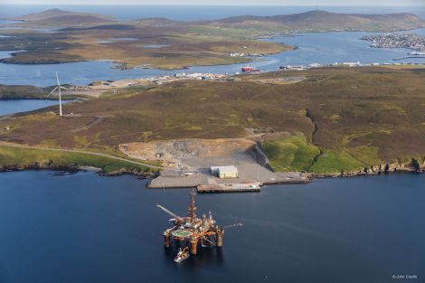 The extended Dales Voe pier has already received the first oil installation for decommissioning. Photo: John Coutts/LPA