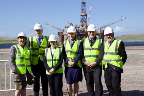Celebrating the opening of Dales Voe decommissioning hub are (left to right): LPA chief executive Sandra Laurenson, harbourmaster Calum Grains, head of energy and low carbon at HIE, Audrey MacIver; chief executive of Oil & Gas UK, Deirdre Michie; acting head of decommissioning at the Oil and Gas Authority, Gunther Newcombe and LPA chairman Ronnie Gair. Photos: Hans J Marter/Shetland News