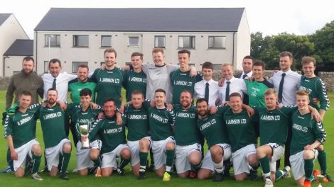 Cunningsburgh's victorious Parish Cup squad following Saturday's victory. Photo: Helen Smith.