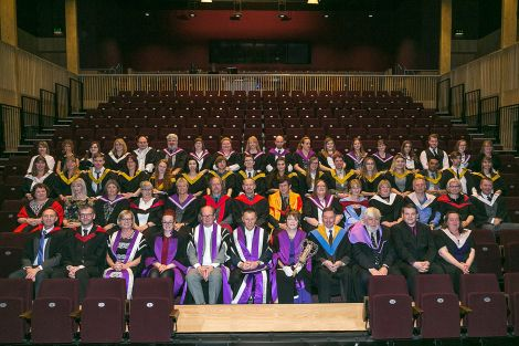 Higher education students with Shetland College and UHI staff. Photo: Garry Sandison