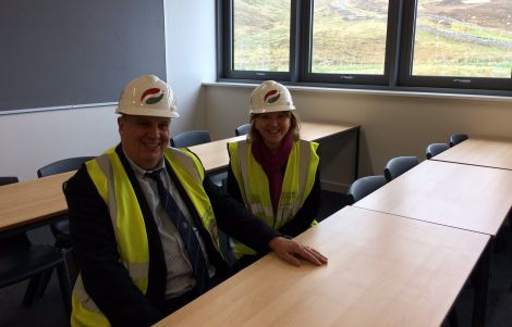 Education committee chairman George Smith and Anderson High head teacher Valerie Nicolson inspecting the new school last week. Photo: Helen Budge Twitter feed