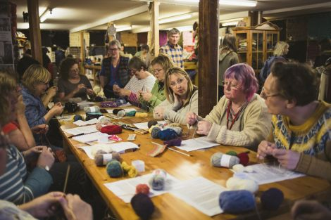 Fair Isle knitting with Hazel Tindall at Jamieson & Smith was one of the many workshops held over the nine day long event. All photos: Calum Toogood.