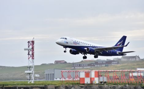 Flybe/Eastern Airways' Embraer jet at Sumburgh airport. Photo: Mark Berry