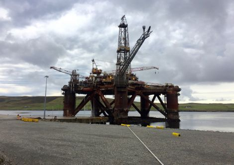 The Buchan Alpha platform on Monday afternoon after being brought towards land. Photo: Hans J Marter/Shetland News