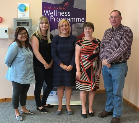 Mind Your Head's new team pictured in August, from left to right: supporting practitioner Charity Johnson, wellness practitioner Aimee Barclay, service manager Anouska Civico, finance/admin assistant Joanna Breeze and wellness practitioner Derry Meredith. Photo: Shetland News/Neil Riddell.