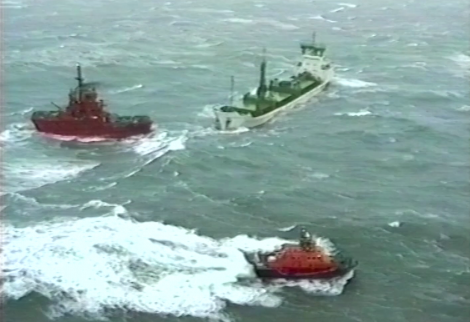 A still from video footage of the Green Lily grounding.