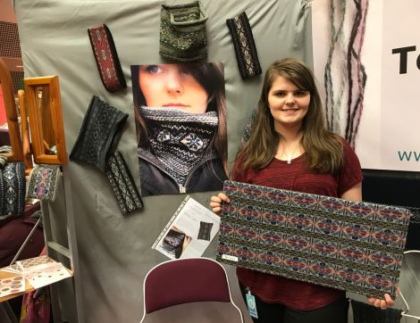 Terri Laura, from Cunningsburgh, is one of several young knitters exhibiting at the craft fair for the first time. Photo: Shetland News/Neil Riddell.