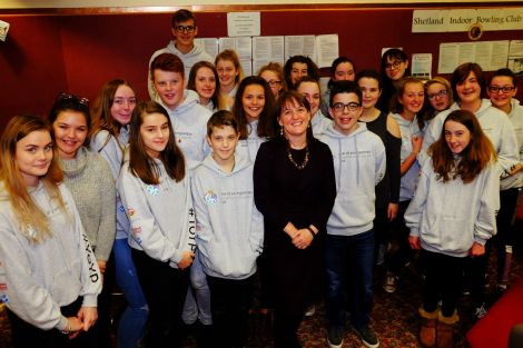 MSP Maree Todd with Shetland youngsters in Lerwick on Tuesday. Photo: SIC