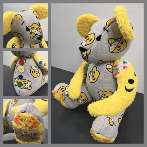 Up for auction are 100 items from a Burra Bear in the Children in Need colours...