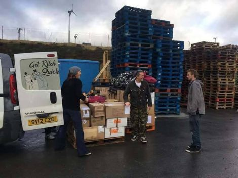 Pallets of donations gathered by Shetland Solidarity with Refugees was shipped south last weekend.