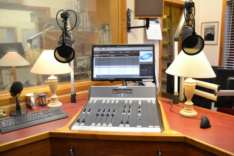 The main control desk at SIBC's Market Street studio. Photo: Shetland News/Neil Riddell.