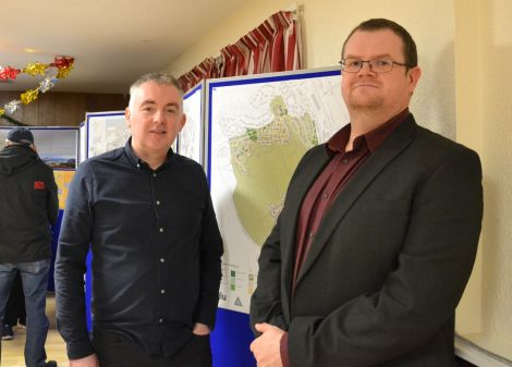 Architect Iain Malcolmson and Hjaltland Housing's Bryan Leask at Wednesday's public drop-in session in Staney Hill Hall. Photo: Shetland News/Neil Riddell.