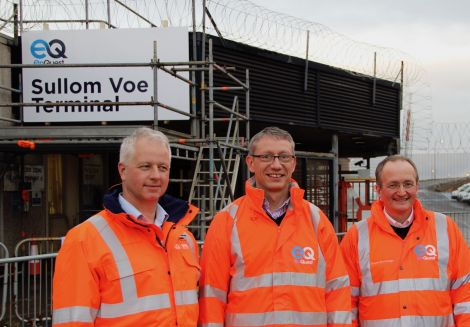 Enquest taking charge at Sullom Voe Terminal (left to right): SVT area operations manager Ian Lister, the company's chief operating officer Neil McCulloch and Aberdeen based SVT general manager Derek Liversidge. Photos: Hans J Marter/Shetland News