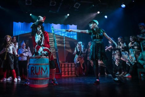 John Haswell, as Captain Hook - 'the most villainous pirate of them all' with Hermione Boyes as Peter Pan. Photos: Jonathon Bulter