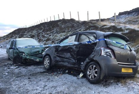 Both cars were severely damaged in the crash. Photo: Shetland News