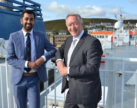 Scottish transport and islands minister Humza Yousaf pictured with Serco NorthLink managing director Stuart Garrett earlier this year. Photo: Shetland News/Neil Riddell.