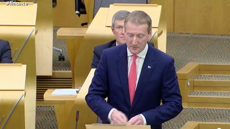 Tavish Scott speaking during the fair ferry funding debate at Holyrood on Wednesday. Photo courtesy of Scottish Parliament.