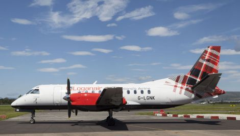 A Loganair Saab 340 aircraft was involved in a near miss with an American jet in August last year.