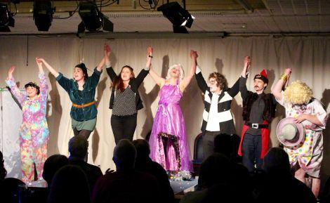 The Imposters, from left to right: Ashlea Tulloch, Marjolein Robertson, Jill Charleson, Matthew Simpson, Thomas Jones, Alex Garrick-Wright, Les Sinclair.